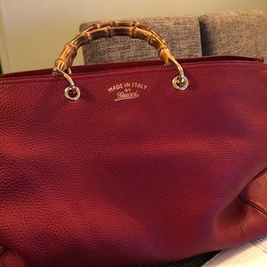 Authentic Gucci large bamboo shopper tote